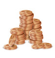 bronze copper coins stacks silver finance vector image vector image
