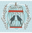 Card with birds in cage vector image