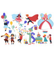 child birthday costume party clown and cake kids vector image