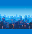 city at night town in flat style design vector image