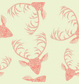 deer heads seamless pattern vector image vector image