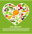 eat healthy commercial poster with vegetables vector image vector image