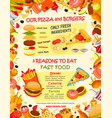 fast food burger and pizza menu template vector image vector image