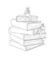 flat adult people reading book at pile vector image vector image