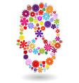 flower skull in colors over white vector image vector image