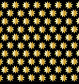 golden nine pointed star on black background vector image vector image