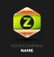 green letter z logo in golden-green hexagonal vector image