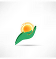 hand protecting sun icon vector image vector image