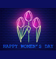 happy mother day tulip bouquet neon light vector image vector image
