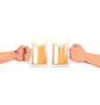 human hands clicking beer mugs oktoberfest party vector image