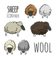 isolated sheep herd icons vector image vector image