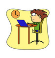 man works on a computer flat cartoon character vector image vector image