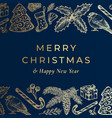 merry christmas and happy new year hand drawn vector image vector image