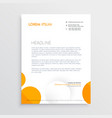 minimal letterhead design with orange and white vector image vector image