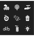 nine flat eco icons vector image
