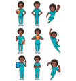 nurse african female set vector image vector image