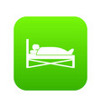 patient in bed in hospital icon digital green vector image vector image