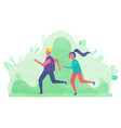 people leading active lifestyle jogging characters vector image vector image