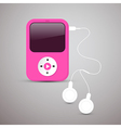 Pink Mp3 Player with White Headphones vector image vector image
