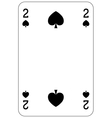 Poker playing card 2 spade vector image vector image