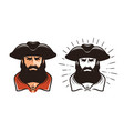 portrait of bearded man in cocked hat cartoon vector image vector image