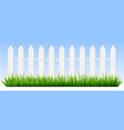realistic wooden fence green grass on white vector image vector image