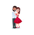 romantic couple in love hugging happy man and vector image