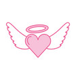 Romantic heart love wings valentine tattoo vector image