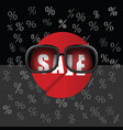 sale icon with sunglasses vector image vector image
