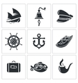 Sea Tourism Icons Set vector image