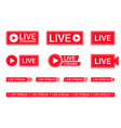 set live streaming icons red symbols and vector image vector image