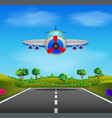 showing a flying plane landing vector image vector image