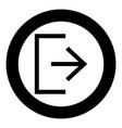 symbol exit icon black color in circle round vector image vector image