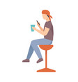 teenager boy with a phone in his hands vector image vector image