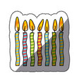 tricolor canddles party icon vector image