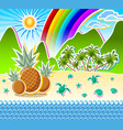 tropical island seashore scenery sandy beach full vector image