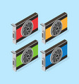 video card set of mining bitcoin vector image vector image