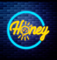 vintage honey emblem glowing neon vector image