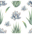 watercolor seamless pattern cacti and vector image vector image