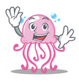 waving cute jellyfish character cartoon vector image