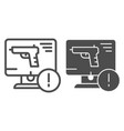 weapon on computer line and glyph icon computer vector image vector image