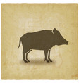 wild boar silhouette vintage background vector image vector image