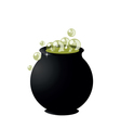 witchs cauldron on pot on halloween on white backg vector image