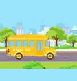 yellow funny school bus vector image vector image