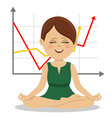 young businesswoman sits in lotus pose vector image