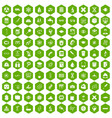 100 microscope icons hexagon green vector image vector image