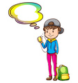 A boy with an empty callout template vector image vector image