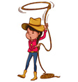 A coloured drawing of a cowgirl vector image vector image