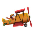 a man ride classic aircraft vector image