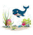an underwater landscape with whale and plants vector image vector image
